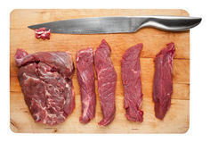 Cutting raw meat slices. Cutting board with raw meat slices Royalty Free Stock Photo