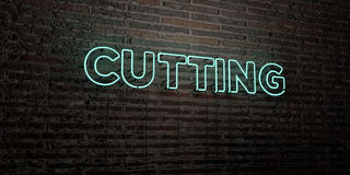 CUTTING -Realistic Neon Sign on Brick Wall background - 3D rendered royalty free stock image Royalty Free Stock Images