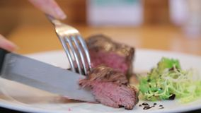 Cutting red meat on a plate close-up
