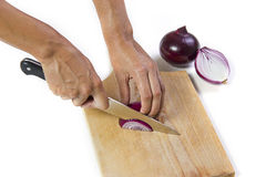 Cutting Red Onion Stock Images