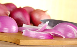 Cutting Red Onions Stock Photos