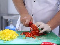 Cutting red pepper stock video