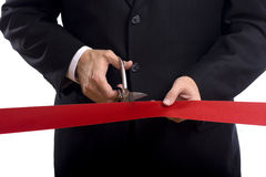Cutting a Red Ribbon Stock Photos