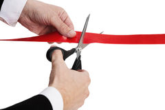 Cutting Red Ribbon Royalty Free Stock Photography