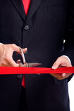 Cutting Red Ribbon Royalty Free Stock Photos