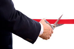 Cutting Red Ribbon Stock Photos