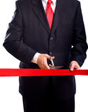 Cutting Red Ribbon Stock Image