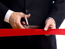Cutting Red Ribbon Royalty Free Stock Images