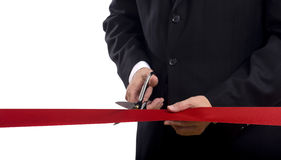 Cutting a Red Ribbon Royalty Free Stock Photo