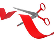 Cutting A Red Ribbon Stock Images