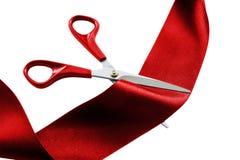 Cutting red ribbon Stock Photo