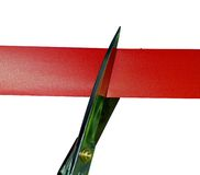 Cutting the red tape. Business metaphor or Opening Royalty Free Stock Image