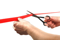 Cutting Red Tape Royalty Free Stock Photography