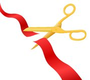 Cutting the ribbon. Vector illustration of a ribbon cut through Stock Image