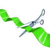 Cutting the ribbon green isolated Royalty Free Stock Images
