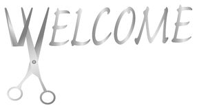 Cutting ribbon - welcome Stock Photography