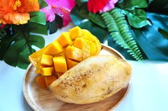 Cutting Ripe Mango Serve on Wooden Plate. Decorated with tropical style on background stock image