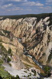 Cutting River. The river cutting a canyon out of the rock in Yellowstone Stock Photo