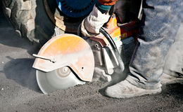 Cutting Road Works Stock Photos