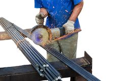 Cutting the rod of metal grinding machine royalty free stock images