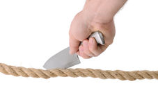 Cutting rope Stock Photography