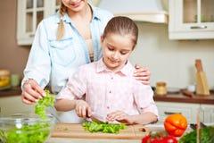 Cutting salad Royalty Free Stock Photos