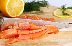 Cutting salmon Royalty Free Stock Photos