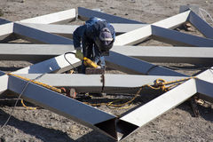 Cutting and sanding metal structures Stock Image