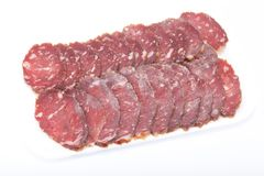 Cutting sausage Royalty Free Stock Photos