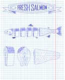 Cutting scheme fresh salmon Royalty Free Stock Image