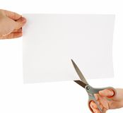 Cutting sheet of paper Stock Photo