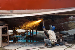 Cutting ship iron plate Stock Images