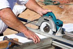 Cutting Soffit With Circular Saw royalty free stock photo