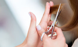 Cutting split ends of the hair Royalty Free Stock Photography