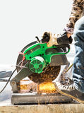 Cutting steel with grinder Stock Photography
