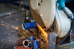 Cutting steel with grinder Royalty Free Stock Photos