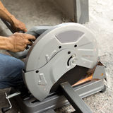 Cutting steel with grinder Stock Photos