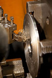Cutting Steel on a lathe Royalty Free Stock Photography