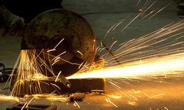 Cutting steel with machine for cutting steel Royalty Free Stock Photos