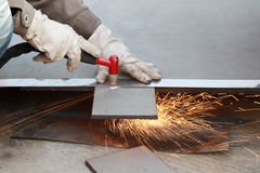 Cutting of steel plate Royalty Free Stock Photos
