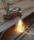 Cutting of steel plates. In mechanical workshop Stock Photos