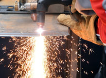Cutting steel and sparks Stock Photo