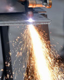 Cutting steel and sparks Royalty Free Stock Image