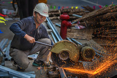 Cutting steel workers Royalty Free Stock Photo