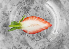 Cutting strawberries on silver plate,  top view Stock Images