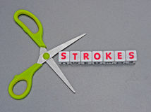 Cutting strokes. Pair of green handled scissors against text Stock Photography