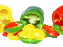 Cutting sweet pepper on white  Isolated Royalty Free Stock Images