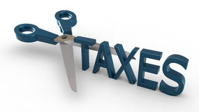 Cutting taxes. 3D concept for scissors cutting the word TAXES Stock Images