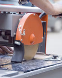 Cutting tiles machine. Royalty Free Stock Photography