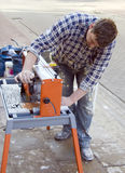 Cutting tiles machine. royalty free stock images